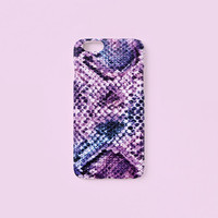 iPhone 6/6s case - Violet multi colored boa snake skin pattern - iPhone 6s Plus, w/ Good Luck Gold Sticker, matte C13