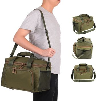Men Fishing Bag Pesca Canvas Multifunctional Waist Shoulder Bag Outdoor Sport Lure Fishing Tackle Storage Bags 37 * 25 * 25cm