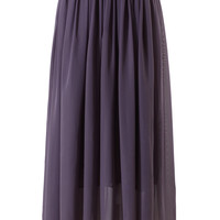 Purple Pleated Maxi Skirt Purple