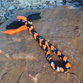 Braided Fleece Dog Toy, Orange and Black with Polkadots