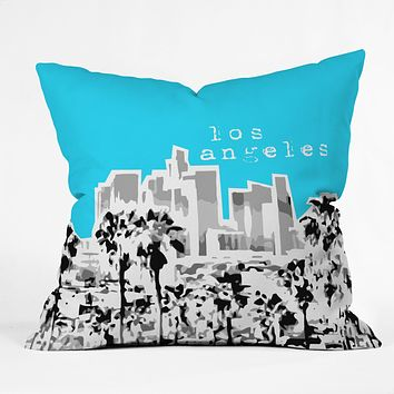 Bird Ave Los Angeles Aqua Throw Pillow