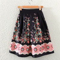 Black Vintage Floral Print Midi A-Line Pleated Skirt