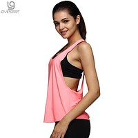 8 Colors Summer Sexy Women Tank Tops Quick Dry Loose Fitness Movement Sleeveless Vest Singlet for Exercise Workout T-shirt 1033