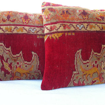 SET of 2 Hand Woven Turkish Old Rug Pillow - Modern Bohemian Home Decor - Decorative Pillow - Kilim  Pillow  18 x 16 Inch - FAST SHIPMENT