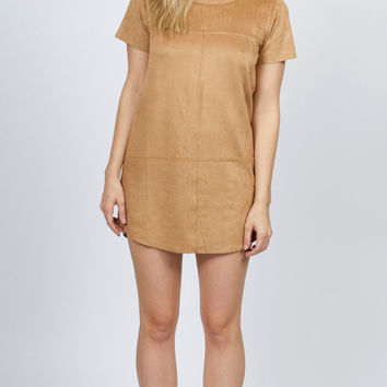 MinkPink Faux Suede Paneled Dress in Tan - Van De Vort