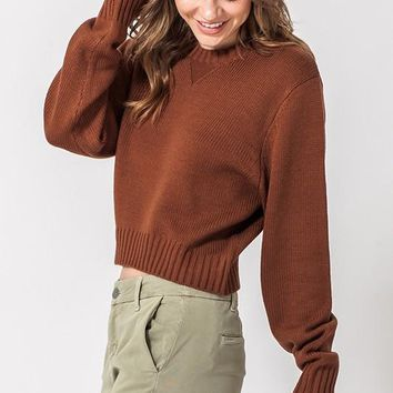 Campfire Cues Cropped Sweater - Chestnut