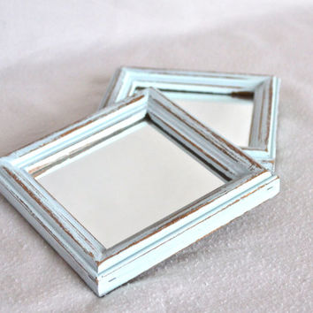 Set of 2 Shabby Chic Light Blue Distressed Mirrors