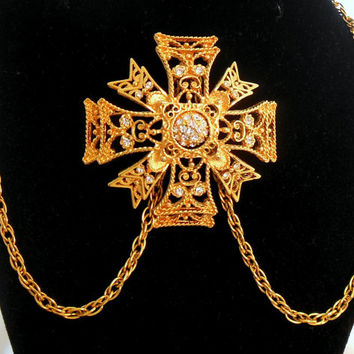 Kenneth J Lane Maltese Cross Necklace Brooch Pendant