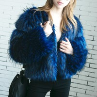 Blue Open Front Fluffy Faux Fur Coat