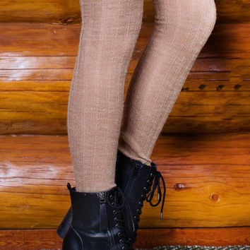 Made It Over The Knee Socks - Tan