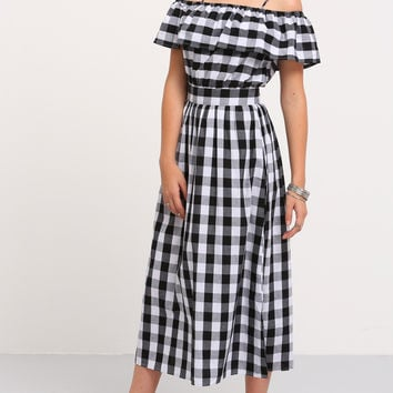 Black and White Checkered Ruffle Dress