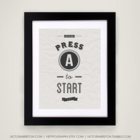 "Press ""A"" to Start - 11x17 gaming typography print - gaming typography poster - retro style art print - nintendo poster - video game print"