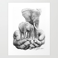 Refuge ( elephants ) Pencil Drawing Art Print by jeff st romain - pencil art