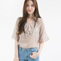Floral Frilled Neck Blouse | mixxmix
