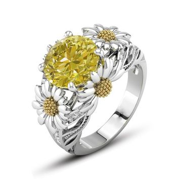 Fabulous Women's Two Tone 925 Sterling Silver Floral Ring Imitation Citrine Sunflower 18K Gold Lucky Flower Diamond Daisy Blosso