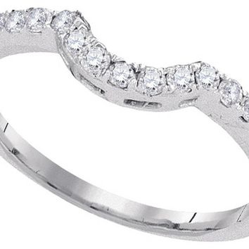 14kt White Gold Womens Round Diamond Curved Band Wedding Anniversary Ring 1/4 Cttw