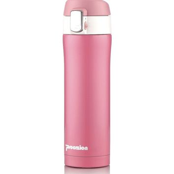 Insulated Stainless Steel Vacuum Flask Travel Mug Thermos Bottle Pink 16 oz