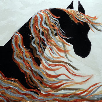 Metal Print of Original Contemporary Abstract Horse Painting, Black and White Metallic Horse by Holly Anderson 30""