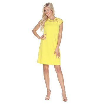 Short Pelagia Dress Yellow Crochet Lace Neck/Hem Cap Sleeve