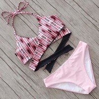 Floral Printed Floral Printed Backless Criss Cross Back Two-Piece Bikini Swim Suit Beach Bathing Suits Swimwear _ 13474