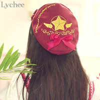 Lolita Japan Anime Card Captor Sakura Cosplay Beret Hat Girl Women Clow Card Pattern Cute Cap