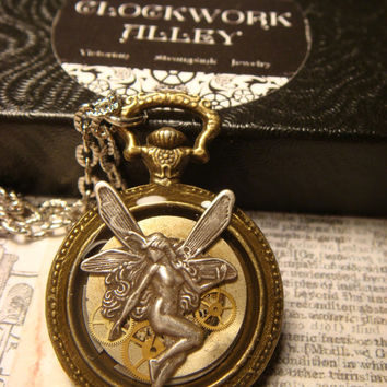 Fairy with Gears Pocket Watch Style Steampunk Pendant Necklace (1832)