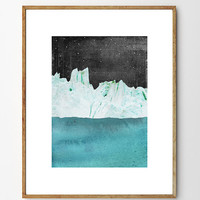 Arctic Night - Iceberg Painting, Iceberg Art Print, Nature Art, Ocean Painting, Home Decor, Mixed Media Collage, Mountain Art, Starry Night