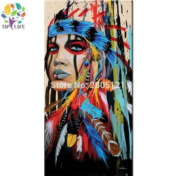 100% hand made american native idian figure oil painting The Indians girl warrior portrait canvas picture home decor wall art