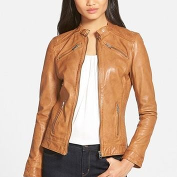 Women's LaMarque Stitch Detail Lambskin Leather Jacket ,