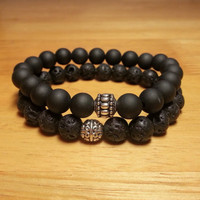 Mens Bracelet Gift Set with Lava Rock and Black Onyx - Matte Black Bracelets, Men Black Jewelry, Men Jewelry, Man Accessories