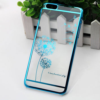 Electroplating Dandelion Bling Diamond Hard Back Mobile phone Case for iPhone 6/6s Plus, iPhone 6/6s, iPhone 5/5s/SE