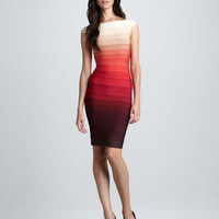Ombre-Stripe Cap-Sleeve Bandage Dress FOLLOW ME AND ENJOY<3