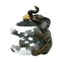 Sterling Elephant Glass Storage Jar