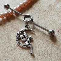 Industrial Barbell With Fairy on a Moon Charm Body Jewelry Upper Ear