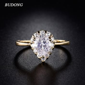 BUDONG Fashion Large Teardrop Crystal Engagement Ring for Women 2017 Gold-Color Rings Austrian Cubic Zirconia Jewelry Rings R160