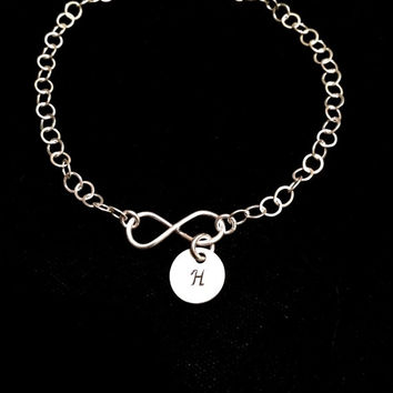 Sterling Silver Infinity Bracelet with one hand stamped initial disc. Perfect gift for bridesmaids!