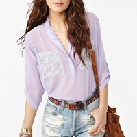 Lace Pocket Blouse - Lilac in  Clothes at Nasty Gal