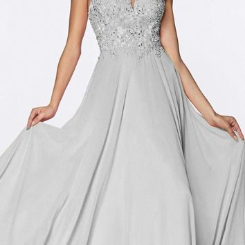 Long A-Line Chiffon Gown Silver V-Neckline Jeweled Lace Bodice