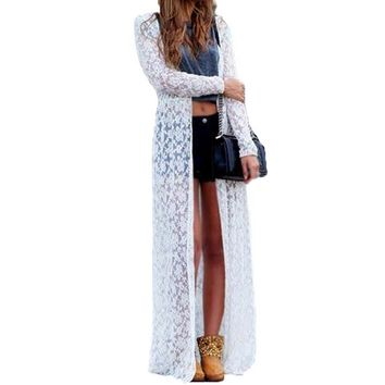 White Long Lace Beach Cardigan