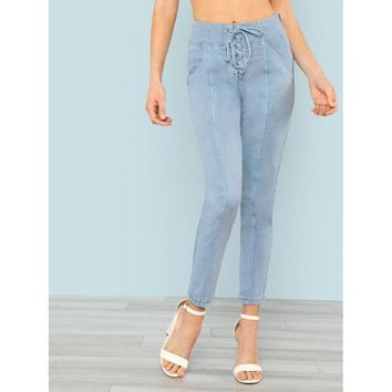High Waist Lace Up Ankle Pants LIGHT BLUE