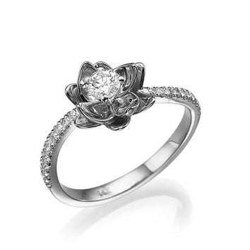 Flower Engagement Ring, White Gold Engagement ring, Diamond Ring, Wedding Ring, Promise Ring, Cocktail Ring, Unique Ring, Statement ring