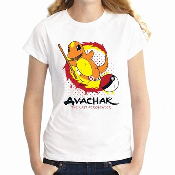 Women's T Shirt  Avatar The Last Airbender Crossover Charizard Pikachu Gamer Girl's TeeKawaii Pokemon go  AT_89_9