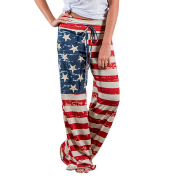 American Flag Printed Drawstring Wide Leg Pants Fashion Womens Pants Casual Low Waist Trouser Summer Trousers Cool Vintage GV706