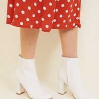 White Faux Snake Block Heel Ankle Boots | New Look