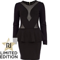 Black mesh insert peplum dress