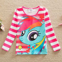 new style comfortable lovely My Little Pony pattern cotton baby girl clothes long sleeved t shirts PD1122#