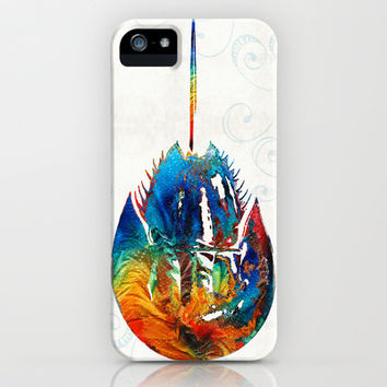 Colorful Horseshoe Crab Art by Sharon Cummings iPhone & iPod Case by Sharon Cummings