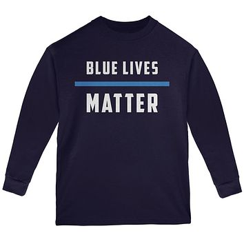 Police Blue Lives Matter Thin Blue Line Youth Long Sleeve T Shirt