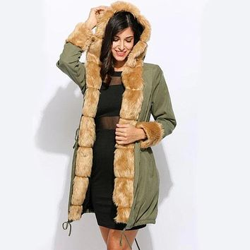 Casual Hooded Khaki Fur Parka Coat