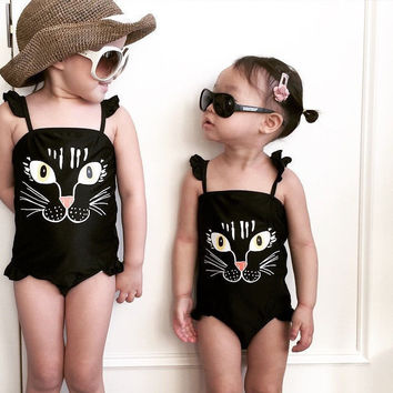 Children Beach Wear Black Kids Girls Baby Swimwear Lovely Cat One-piece Romper Baby Girl Swimsuit Swimwear 2-7T PF